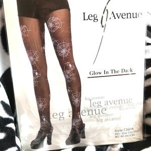 Leg Avenue Glow in The Dark Spiderweb Pantyhose